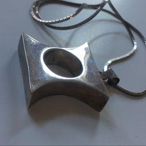 sterling silver Jewelry - 1980s NORDSTROM MODERNIST PENDANT NECKLACE vintage